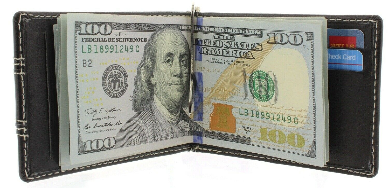 Money Clip Wallet Bifold Slim Minimalist RFID Blocking Front Pocket for Men