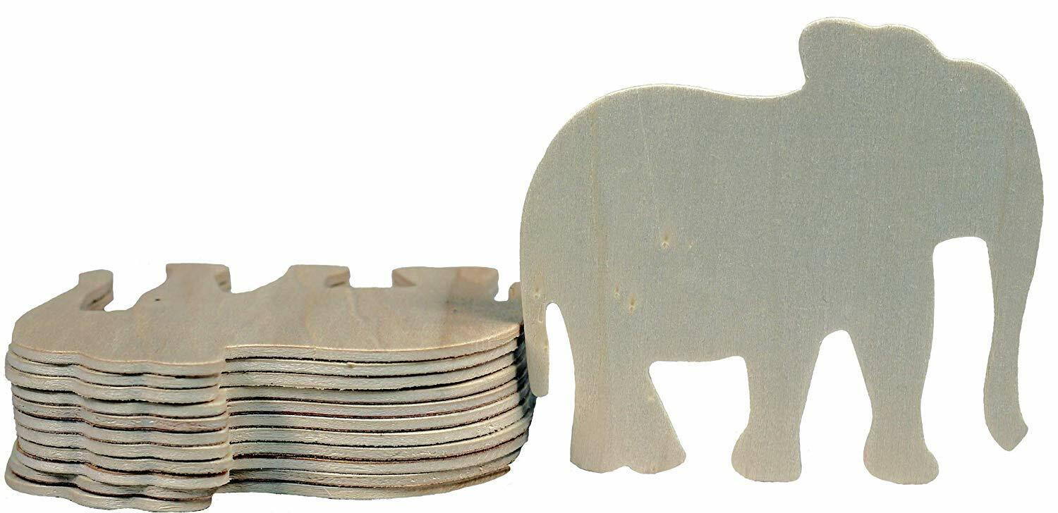 4 Inch Unfinished Wooden Elephant Shapes, Pack of 12, Ready to Paint or Decorate Crafting Pieces
