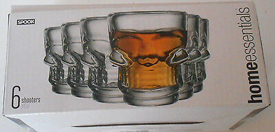 Set Of 6 Tattoo Skull Shot Glass Gothic Punk Pinup Cup Shooter Horror Party Tiki