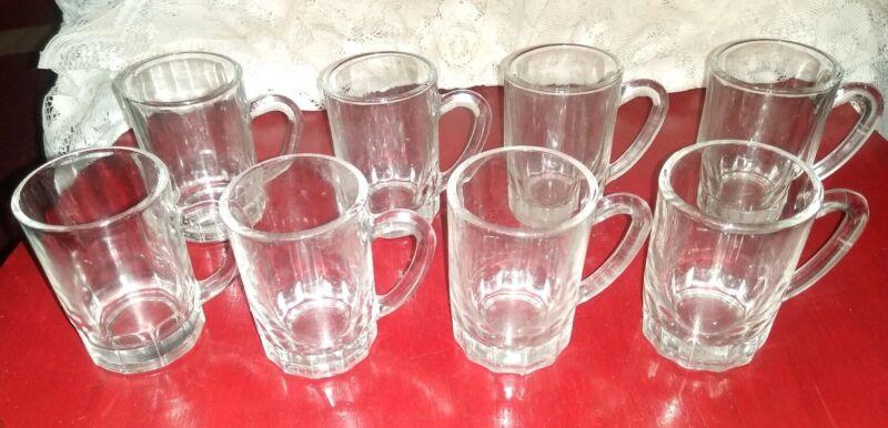 "Lot of 8 Vintage Pasabahce TURKEY Miniature 3"" Clear Glass Mug / Shot Glasses"