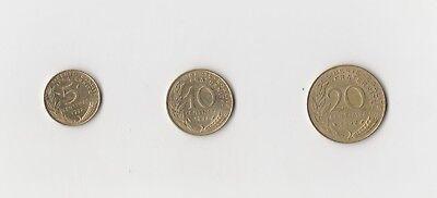 5 ,10 und 20 Centimes Frankreich  1992    (1897)   andere Jahrgänge auf Anfrage