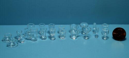 Dollhouse Miniature Plastic Glassware Glass Set 20 Pieces Bar or Kitchen G7352