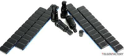 4x 11,3mm Aluminium Ventil Felgenventile Metal Schwarz + 240g Auswucht Gewichte
