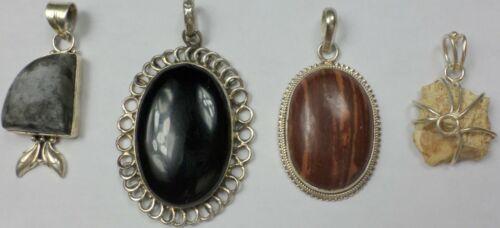 4 Vintage 925 Sterling Silver Onyx Jasper Petrified Wood Gemstone Pendant 46Gram