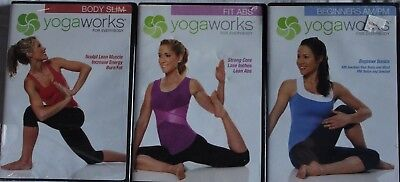 3 Yoga Works Workout Exercise Fitness Dvd Lot Fit Abs Beginners Am Pm Body Slim