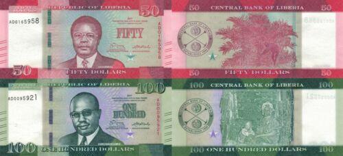 Liberia 3 Note Set: 50 & 100 Dollars (2017) - p34b and p35b UNC