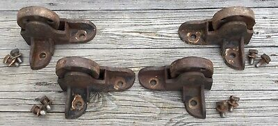 Old Vtg Large Industrial Iron Safe Cart Caster Wheel Heavy Duty Metal Set Of 4