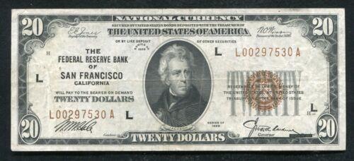 FR. 1870-L 1929 $20 FRBN FEDERAL RESERVE BANK NOTE SAN FRANCISCO, CA