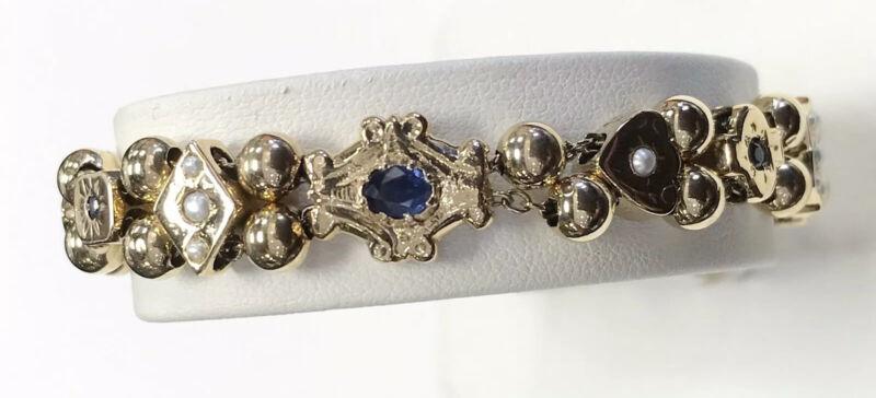 Antique 14kt Yellow Gold Multi-stone Slide Charm Bracelet 22.9 Grams