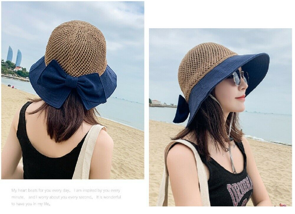 Women Floppy Sun Beach Straw Hats Wide Brim Packable Summer Cap US Clothing, Shoes & Accessories