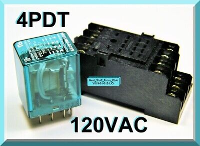 4pdt Ice Cube Relay 120vac Coil Din Base Includes Free Mounting Hardware