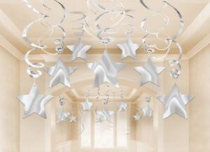 30-x-SILVER-shooting-STAR-DECORATIONS-hanging-SWIRLS-FREE-P-P