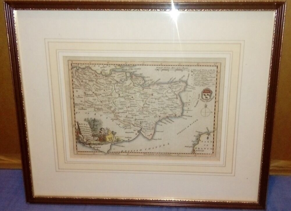 Genuine antique map of Kent by Thomas Kitchin 1760's-framed and glazed.