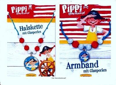 ⚓ PIPPI LANGSTRUMPF ♥  HALSKETTE + ARMBAND mit Glasperlen Schmuck Kinder NEU