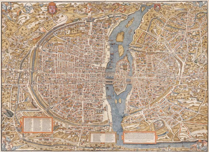 GIANT VINTAGE historic PARIS FRANCE 1550 OLD STYLE MAP