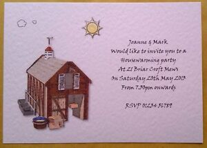 HOUSE WARMING INVITATIONS WITH ENVELOPES BARN DESIGN PACK OF 5