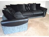 DFS Corner Sofa Farrow Right Hand Facing 3 Seater Pillow Back Charcoal Chrome