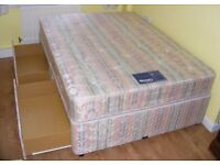 CAN DELIVER TO YORK AND MIDDLESBROUGH - MYERS DOUBLE DIVAN BED WITH 4 DRAWERS IN GREAT CONDITION