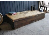 antique pine storage box, wooden box on wheels, coffee table, quirky vintage storage, pine trunk
