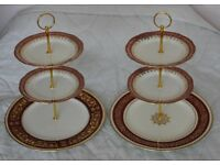 Two big cake stands made of Royal Worcester, Salisbury & Aynsley plates