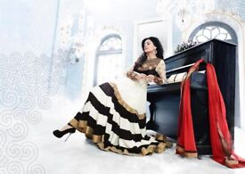 Indian Anarkali dress with red scarf and black churidar