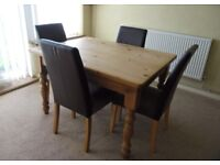 Solid Pine Dining Table and 4 Bonded Leather Chairs