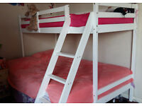 Good Quality White Solid Wooden Wood 3 Triple Sleeper Bunk Bed Double & Single Size