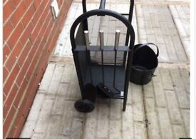 New Log trolley with companion set and coal bucket