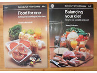 Vintage 1979/81 Sainsbury's books: Food For One/Deanna Brostoff. Balancing Your Diet/Jenny Salmon.