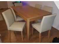 Wooden Dining Table with 6 Cream Leather Chairs