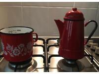 Kitchenalia Beautiful red coffee and milk pots