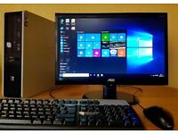 "Excellent spec HP win 10 64 bit Full PC Setup,20"" full hd Led screen,4GB RAM,Wifi Ready,MS Office"