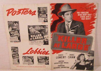 VINTAGE 1947 Killer at Large MOVIE POSTER ADVERTISING PRESSBOOK Robert Lowery