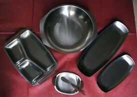Set of 5 Vintage Stainless Steel Serving Dishes