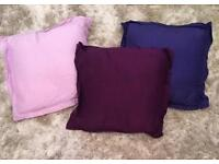 3 x silk cover cushions - good condition 50p each