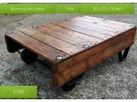 Beautiful cart coffee table with wheels