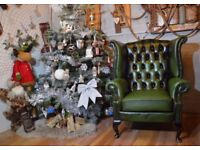 Chesterfield Queen Anne High Back Wing Chair Green Leather