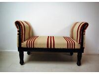 Beautiful hand stitched kilm solid wood bench