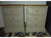 Two Solid Pine Bedside Tables Drawers Cabinets Pair