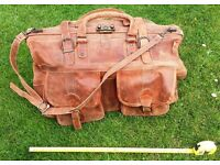 Brown Leather Man's Bag / Holdall. Gym, Holiday, Overnight. Looks Great.
