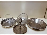 Set of 4 silver colour metal cake stand fruit bowl joblot