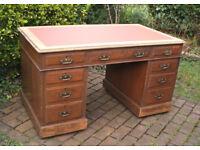 Large Vintage - Solid Oak - Pedestal Desk - 9 Drawers