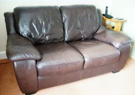 Brown Leather Sofa & Recliner Chair