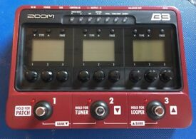 ZOOM B3 - Bass Guitar Effects Pedal & Amp Simulator (USED)