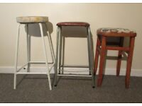3 retro high stools wooden and metal seats vintage chair bar stool tall garage workbench