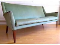 Vintage 1950s Scandinavian emerald green velvet and teak sofa. Reupholstered. Delivery. Midcentury