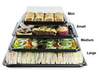 Medium Plastic Buffet Catering Party Food/Sandwich Platter Trays (With Lids) 390mm x 290mm x 65mm