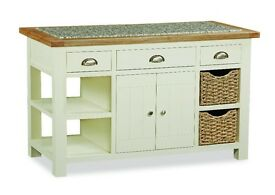 New cream and oak large kitchen island with granite top £799