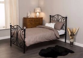 New 3ft Single Metal Bed Frame (Black or White) Crystal Finials