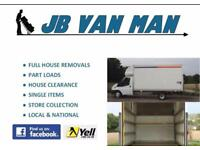 JB VAN AND REMOVAL SERVICES, HOUSE REMOVALS LARGE LUTON VAN WITH TAIL LIFT, TWO MAN TEAM, 5* RATED